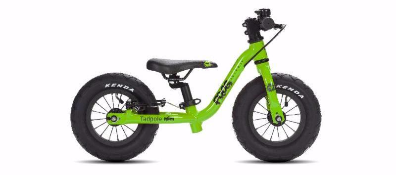 Tadpole mini loopfietsje 10 inch groen, lichtgewicht kinderfiets. Stipkinderfietsen.b, lichtgewicht kinderfiets bij stipkinderfietsen, frogbikes.de, frogbikes.be, aluminium kinderfiets.