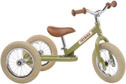 Trybike loopfiets staal driewieler vintage groen.