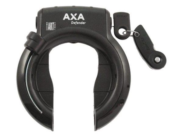 Het beste fietsslot voor je kinderfiets.. AXA ringslot Defender zwart met klapsleutel. bij stip-kinderfietsen.nl